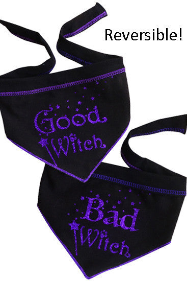 Good Witch Bad Witch Reversible Scarf in color Black/Purple - Daisey's Doggie Chic