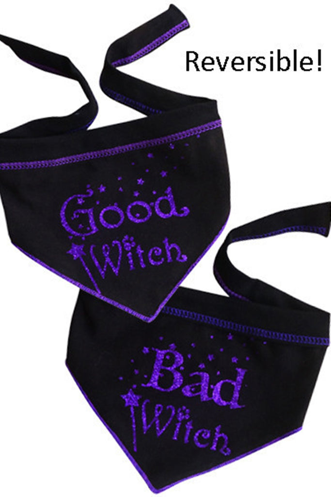 Good Witch Bad Witch Reversible Scarf in 2 color Choices- Purple or Green - Daisey's Doggie Chic