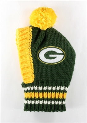 GREEN BAY PACKERS NFL Official Licensed Ski Hat for Dogs in color Green/Yellow - Daisey's Doggie Chic - 1