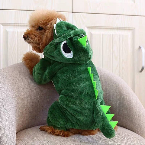 Cute Green Dragon Cartoon Character Plush Costume Pajama Coat for Dogs - Assorted Characters in 5 Sizes