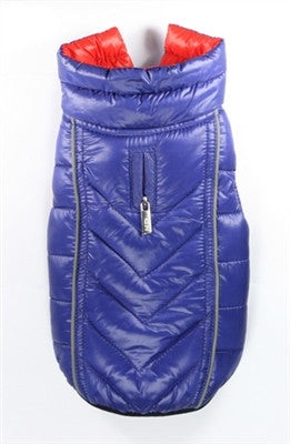 Featherlite Reversible/Reflective Puffer Vest Jacket in Color Blue/Orange - Daisey's Doggie Chic