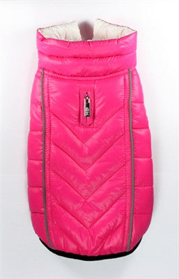 Featherlite Reversible/Reflective Puffer Vest Jacket in Color Pink/White - Daisey's Doggie Chic