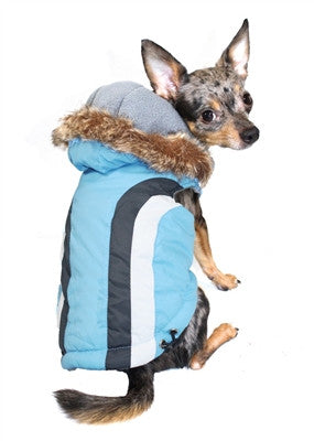 Swiss Alpine Hooded Jacket in Color Blue - Daisey's Doggie Chic
