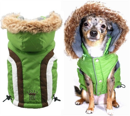 Swiss Alpine Hooded Jacket in Color Green - Daisey's Doggie Chic