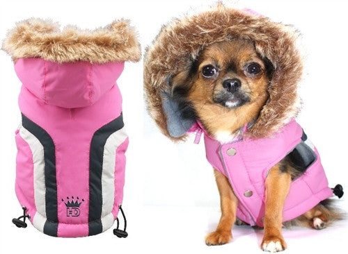 Swiss Alpine Hooded Jacket in Color Pink - Daisey's Doggie Chic