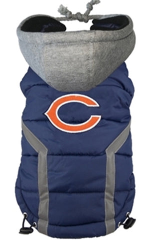 Chicago BEARS  NFL dog Jacket (Puffer Vest) in color Navy - Daisey's Doggie Chic