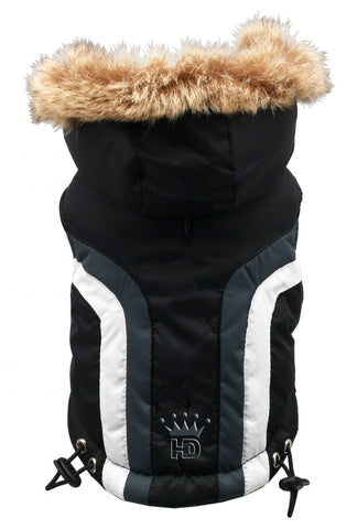 Swiss Alpine Hooded Jacket in Color Black - Daisey's Doggie Chic