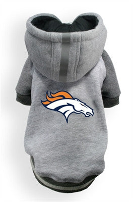 Denver BRONCOS NFL dog Helmet Hoodie in color Athletic Gray - Daisey's Doggie Chic - 1