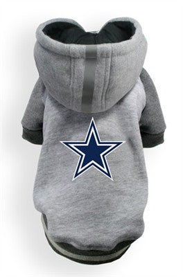 Dallas COWBOYS NFL  dog Helmet Hoodie in color Athletic Gray - Daisey's Doggie Chic