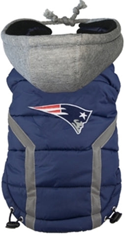 New England PATRIOTS NFL Dog's Puffer Vest Jacket  in Color Navy/Red - Daisey's Doggie Chic - 1