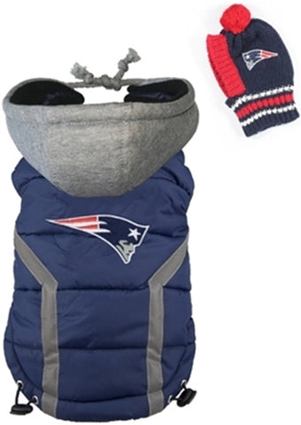 2 pc. Set NE PATRIOTS NFL Dog's Puffer Vest Jacket w/Snood Hat - Daisey's Doggie Chic