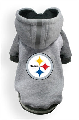 Pittsburgh STEELERS NFL dog Helmet Hoodie in color Athletic Gray - Daisey's Doggie Chic - 1