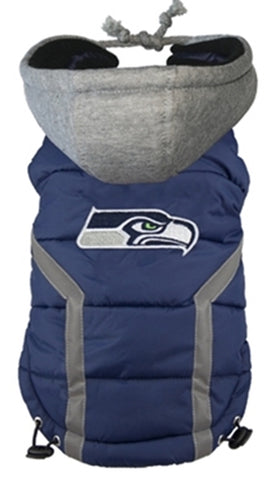 Seattle SEAHAWKS NFL dog Jacket (Puffer Vest)  in color Blue - Daisey's Doggie Chic