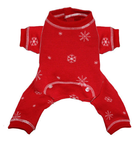 Holiday Snowflakes Thermal Fleece Long John Pajamas in color Red - Daisey's Doggie Chic - 1