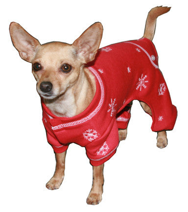 Holiday Snowflakes Thermal Fleece Long John Pajamas in color Red - Daisey's Doggie Chic