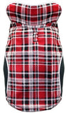 2-in-1 Reversible Plaid Polar Fleece Vest Jacket in Color Red/Black - Daisey's Doggie Chic