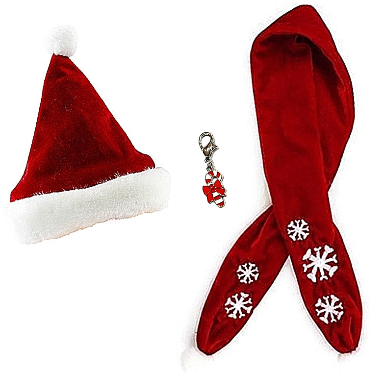 9473fccdd814f Red Velvet Santa Hat and Snowflake Scarf set with Candy Cane Charm - Dog  Sizes S
