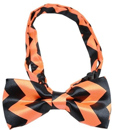 Super Fun & Festive Chevron Bow Tie in Spooky Orange/Black - Daisey's Doggie Chic