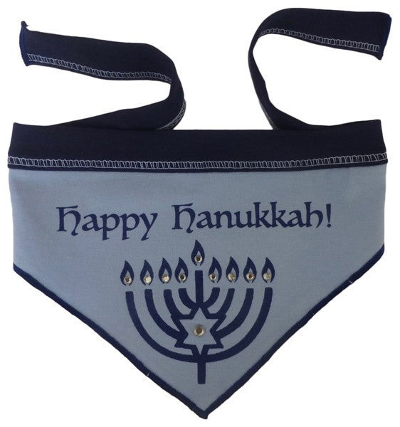 Happy Hanukkah (Chanukkah) Bandana Scarf in color Blue/Silver - Daisey's Doggie Chic