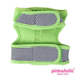 "Pinkaholic NY ""Harper Pinka""  Wrap-around-Velcro Hooded Harness Vest in Lime Green Stripe - Daisey's Doggie Chic"