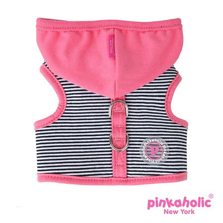 "Pinkaholic NY ""Harper Pinka""  Wrap-around-Velcro Hooded Harness Vest in Hot Pink Stripe - Daisey's Doggie Chic"