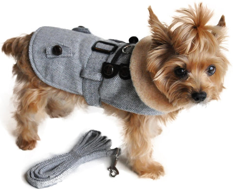 Gray Herringbone Minky Fur Harness Toggle Jacket with Matching Leash - Daisey's Doggie Chic