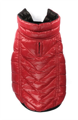 Featherlite Reversible/Reflective Puffer Vest Jacket in Color Black/Red - Daisey's Doggie Chic