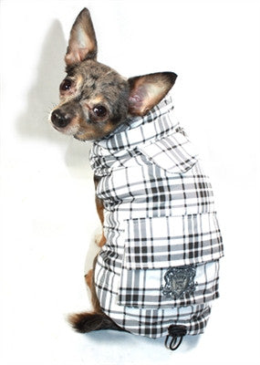Shearling Puffer Vest Jacket in Color Gray Plaid - Daisey's Doggie Chic