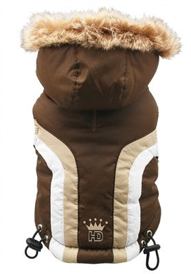 Swiss Alpine Hooded Jacket in Color Brown - Daisey's Doggie Chic