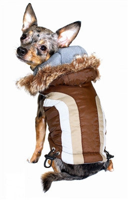 Swiss Alpine Hooded Jacket in Color Brown - Daisey's Doggie Chic - 2