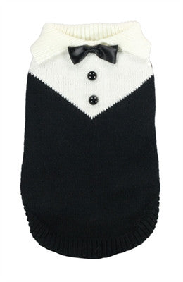 "Tuxedo ""Formal Wear"" Styled Sweater in Black - Daisey's Doggie Chic"
