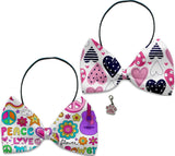 Hippy Love - Fun Party Themed Bowtie 2-Pack set with Charm Accessory for Dogs or Cats - Daisey's Doggie Chic