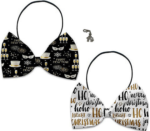 Holiday Cheer - Holiday Themed Bowtie 2-Pack set with Charm Accessory for Dogs or Cats - Daisey's Doggie Chic