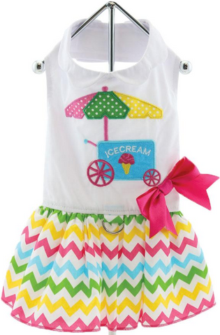 Ice Cream Cart Themed Multi-Colored Party Harness Dress with matching Leash