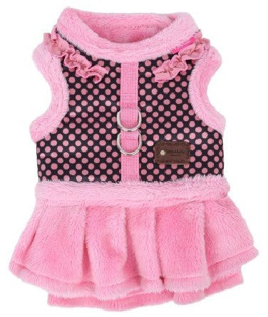 "Pinkaholic NY ""Imperial Flirt Pinka""  Velour/Faux Fur Winter Harness Dress in color Pink/Polka Dots - Daisey's Doggie Chic - 1"