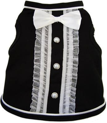 Formal Tuxedo Tank Top in color Black/Ivory - Daisey's Doggie Chic