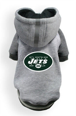 New York JETS  NFL dog Helmet Hoodie in color Athletic Gray - Daisey's Doggie Chic