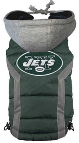 New York JETS  NFL dog Jacket (Puffer Vest) in color Green - Daisey's Doggie Chic - 1