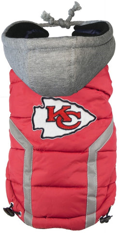 KC CHIEFS NFL dog Jacket (Puffer Vest) in color Red - Daisey's Doggie Chic
