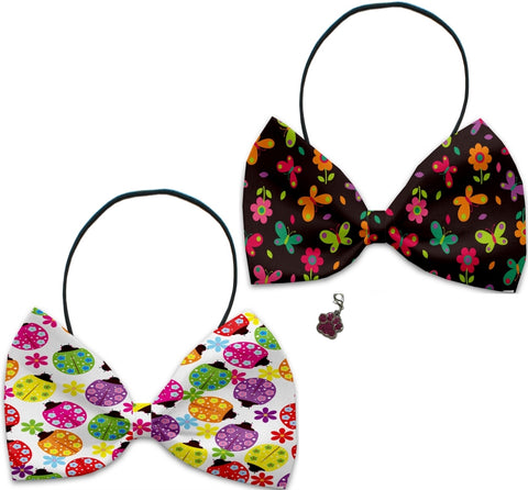 Butterflies & Ladybugs - Fun Party Themed Bowtie 2-Pack set with Charm Accessory for Dogs or Cats - Daisey's Doggie Chic