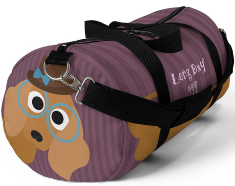 Exclusive Pet Art Duffel Bag - Long Day - Dachshund Spectacle Stripes - Dog Theme Bag - 2 Sizes S or L - personalize - Daisey's Doggie Chic