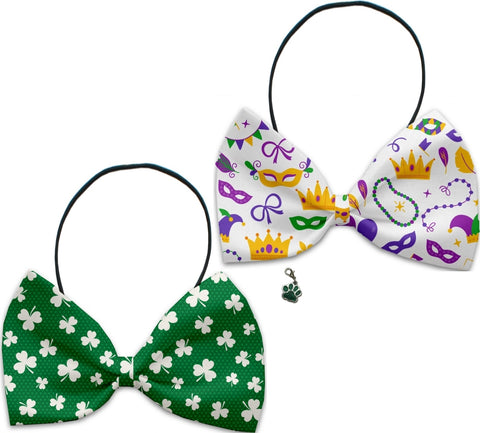 Lucky Charm  Mardi Gras  - Fun Party Themed Bowtie 2-Pack set with Charm Accessory for Dogs or Cats - Daisey's Doggie Chic
