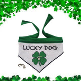 Lucky Dog Studded Clover Bandana Scarf with Charm - color Green/White - Daisey's Doggie Chic
