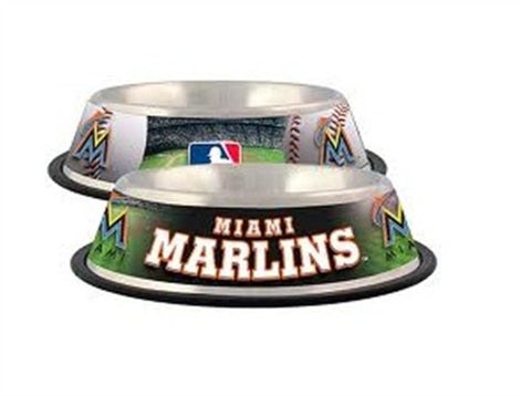 Miami MARLINS  MLB 32 oz. Water Bowl - Daisey's Doggie Chic - 1