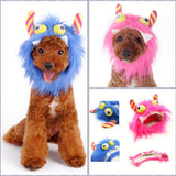 Furry Monster Hat for Dogs in 2 Colors Pink or Blue - Sizes XS to XL - Daisey's Doggie Chic