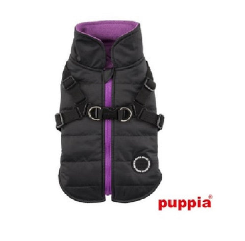 "All-in-One  ""Winter Mountaineer II""  integrated Harness Vest Jacket in Color Black/Purple - Daisey's Doggie Chic"