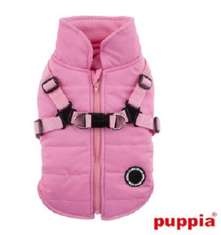 "All-in-One ""Winter Mountaineer II""   Integrated Harness Vest Jacket in Color Pink - Daisey's Doggie Chic"
