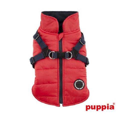 "All-in-One ""Winter Mountaineer II""  Integrated Harness Vest Jacket in Color Red/Black - Daisey's Doggie Chic - 1"