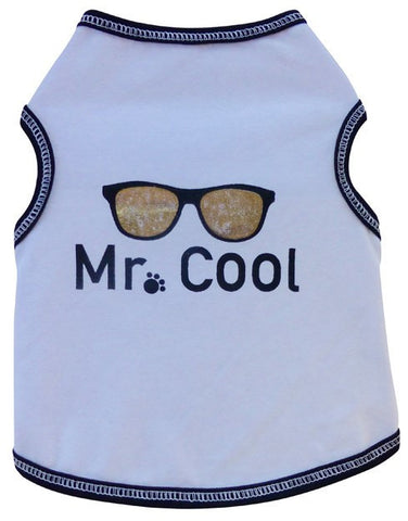 Mr. COOL Tank Tee in color White - Daisey's Doggie Chic