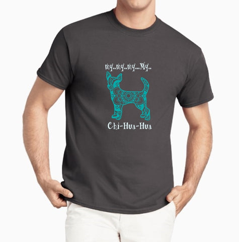 Chihuahua Pet Themed Crewneck T-Shirt - My My My Chihuahua logo  - Adult (Unisex) Sizes 3XL,4XL,5XL in 19 colors - Daisey's Doggie Chic